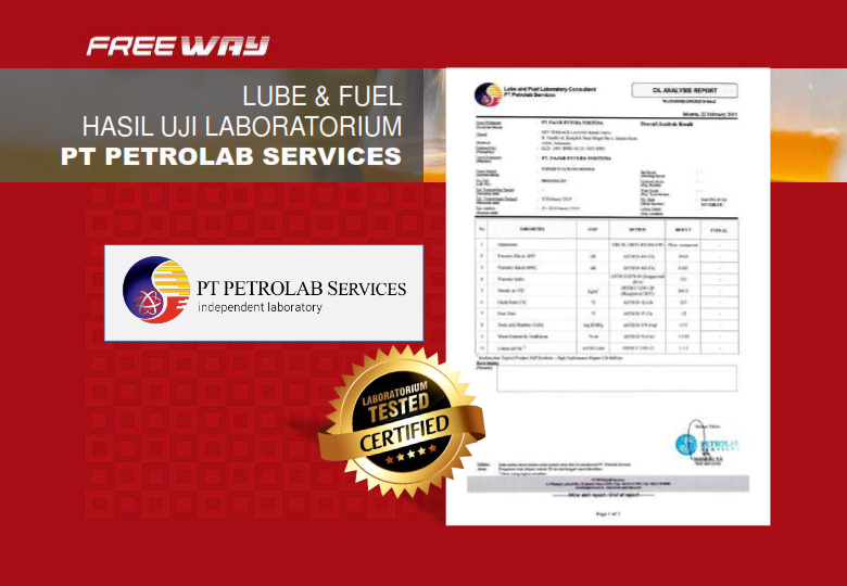 Hasil Uji PETRO LAB untuk produk FREE WAY