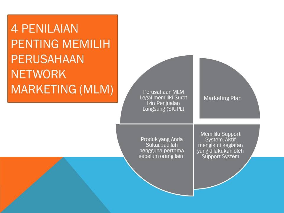 Untuk dapat sukses dengan baik secara jangka pendek, jangka menengah dan jangka panjang; ada 4 faktor utama dalam memilih perusahaan MLM
