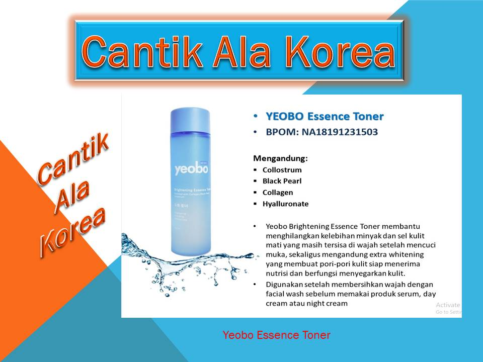 Yeobo Essence Toner Membantu menghilangkan kelebihan minyak dan sel kulit mati yang masih tersisa di wajah setelah mencuci muka, sekaligus mengandung extra whitening yang membuat pori-pori kulit siap menerima nutrisi dan berfungsi menyegarkan kulit